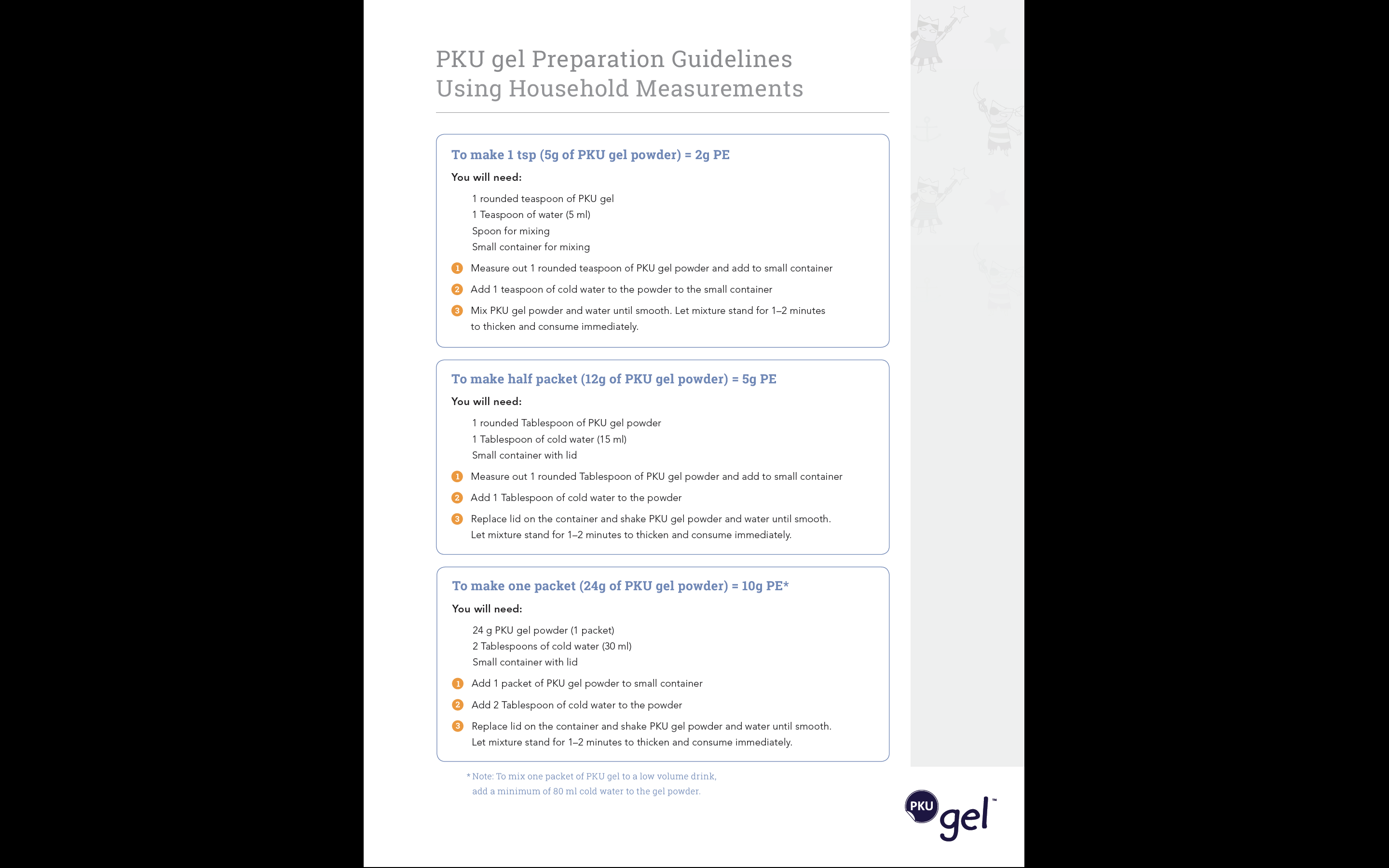PKU gel Preparation Guidelines