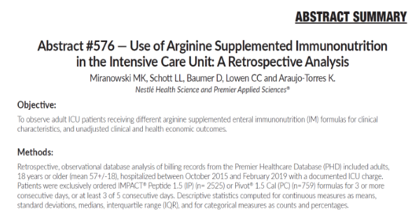 Abstract #576: Use of Arginine Supplemented Immunonutrition in the ICU