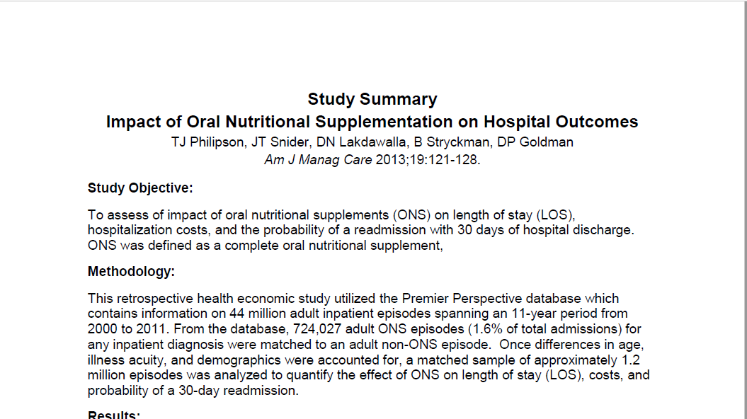 Impact of Oral Nutritional Supplementation on Hospital Outcomes