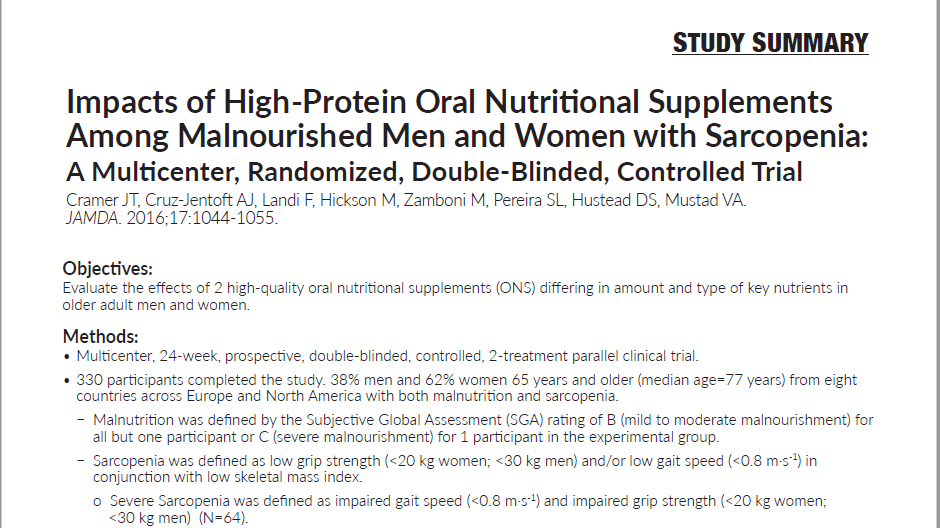 Impacts of High-Protein Oral Nutritional Supplements