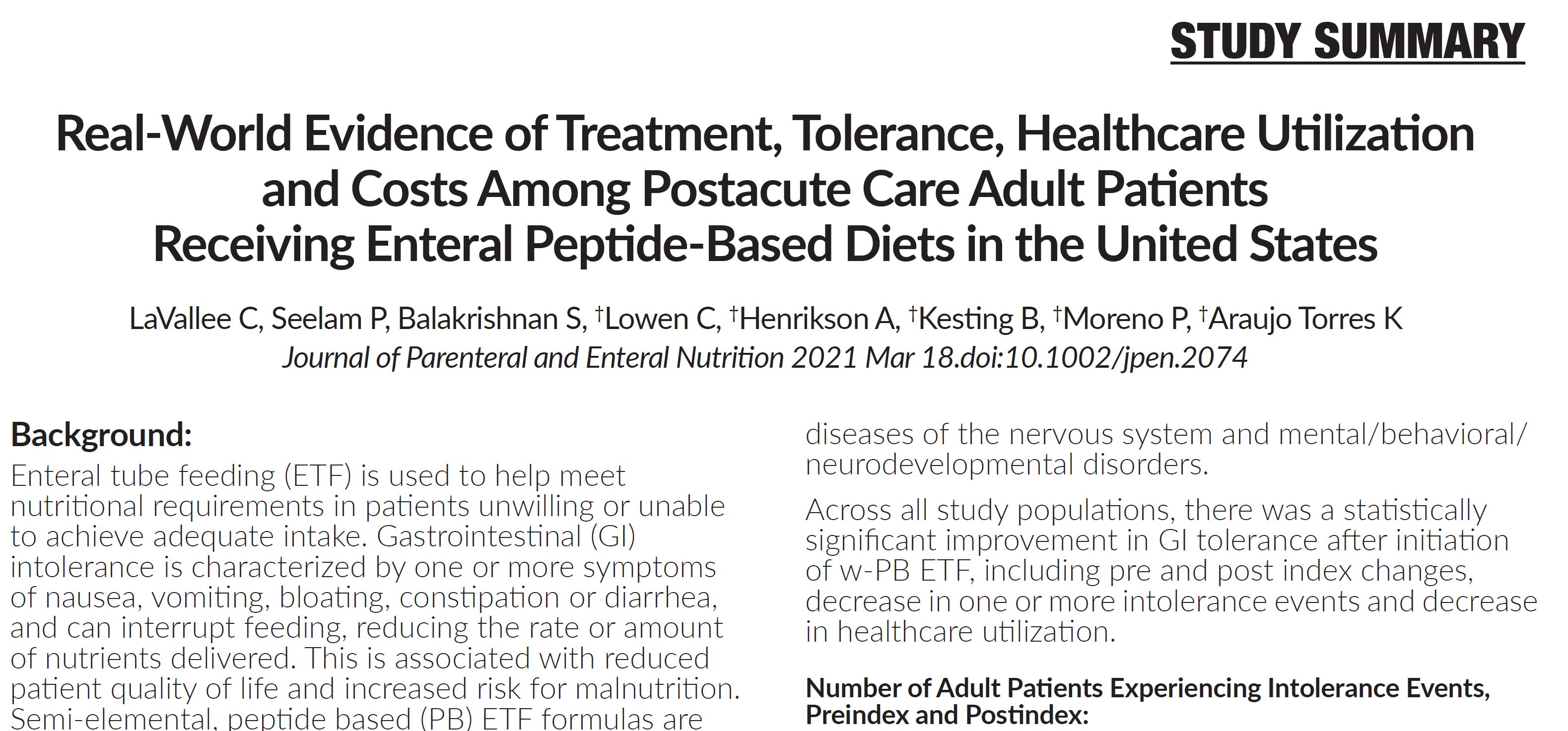 Real-World Evidence of Treatment, Tolerance, Healthcare Utilization and Costs Among Postacute Care Adult Patients Receiving Enteral Peptide-Based Diets in the United States
