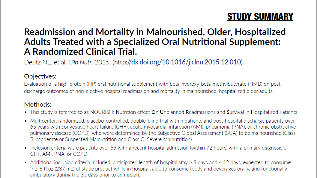 Readmission and Mortality in Malnourished, Older, Hospitalized