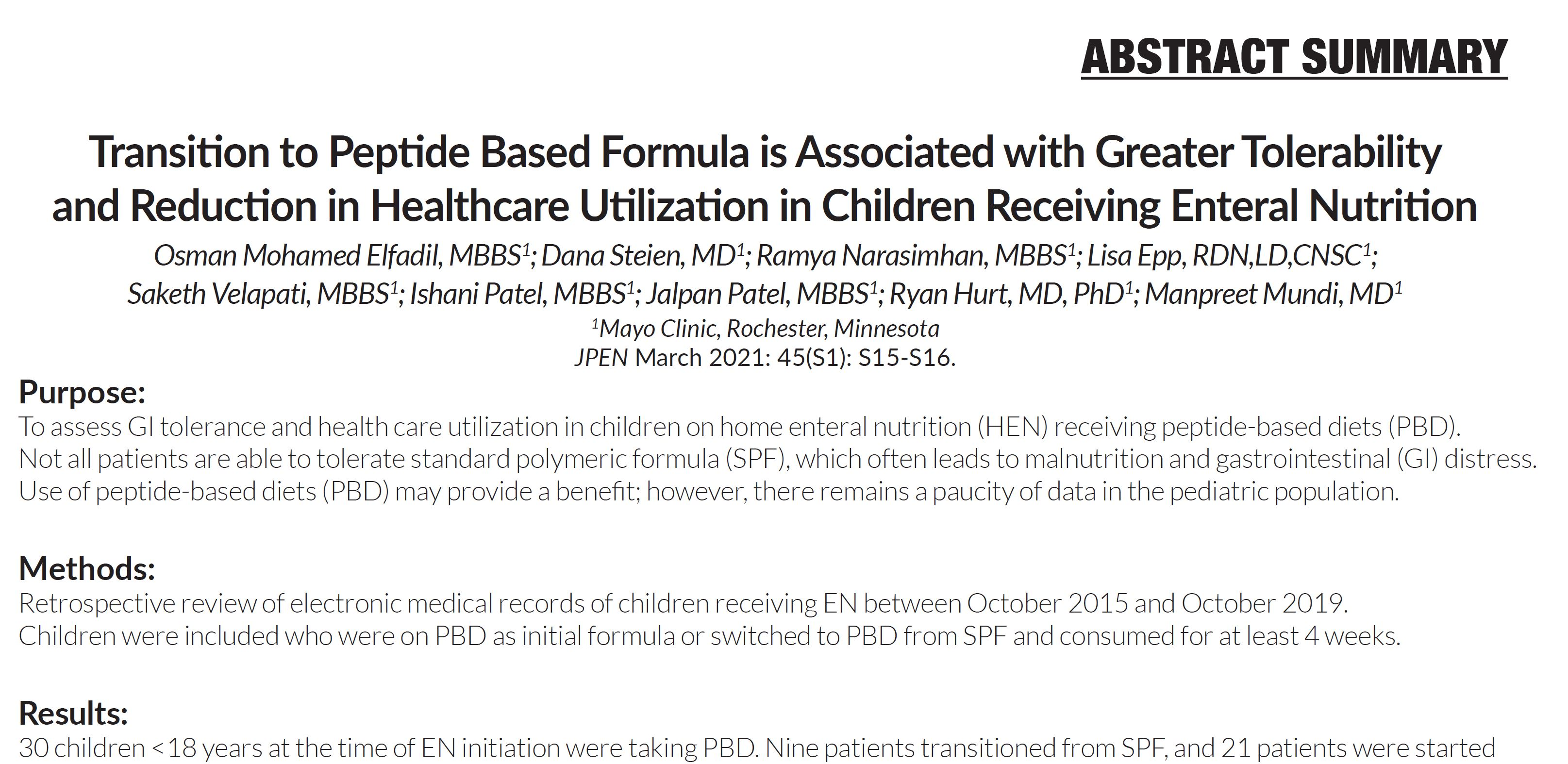 Transition to Peptide Based Formula Associated with Greater Tolerability and Reduction in Healthcare Utilization in Children Receiving Enteral Nutrition